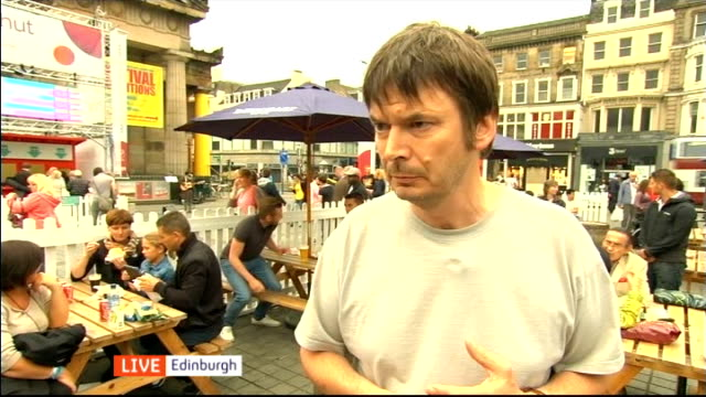 channel 4 news 'pop up' series edinburgh scotland edinburgh ext ian rankin interview sot on edinburgh festival / on scottish independence debate /... - channel 4 news stock videos and b-roll footage