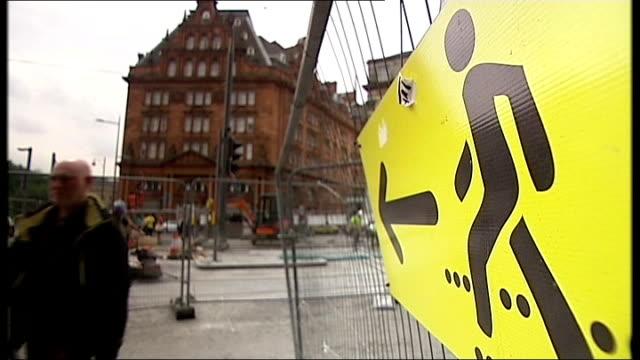channel 4 news 'pop up' series edinburgh scotland edinburgh ext **music overlaid sot** construction work on new tram network taking place in... - 非常線点の映像素材/bロール