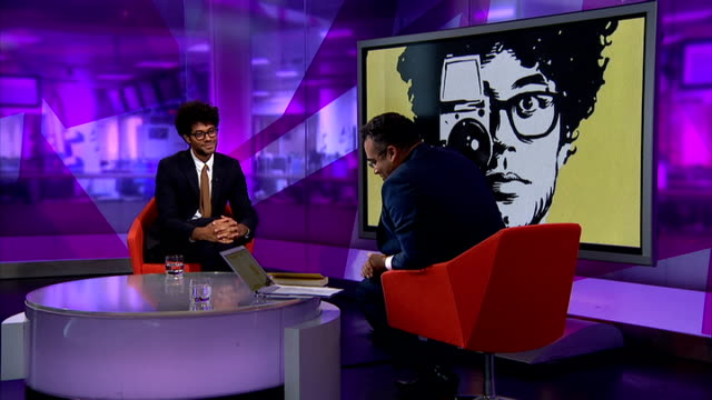 channel 4 news review of the year t21101428 / tx london gir int richard ayoade studio interview sot - channel 4 news stock videos and b-roll footage