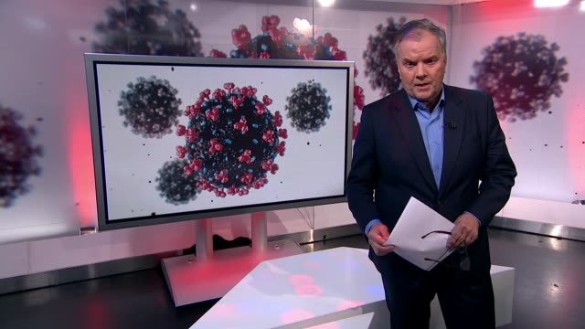stockvideo's en b-roll-footage met channel 4 news special: coronavirus: are we doing enough?; england: london: gir: reporter to camera dr giacomo grasselli 2-way interview from milan... - reportage afbeelding