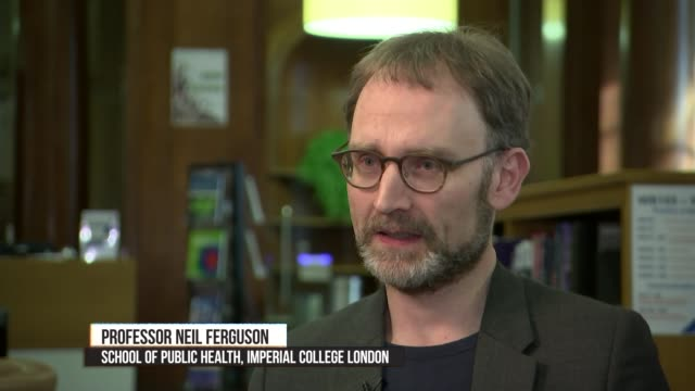 vídeos y material grabado en eventos de stock de channel 4 news special: coronavirus: is britain ready?; england: london: int professor neil ferguson interview sot - reportaje imágenes