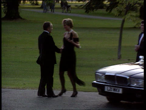 channel 4 news special on the death of diana princess of wales lib london serpentine gallery diana arriving for charity dinner and greeted - the serpentine gallery stock videos & royalty-free footage