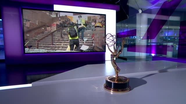 channel 4 news wins international emmy award for hong kong protests coverage; england: london: gir: int international emmy award on channel 4 news... - emmy awards stock videos & royalty-free footage