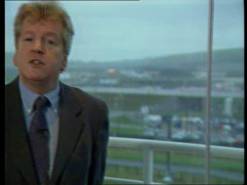 channel tunnel fire; itn england int cms clive durrant intvwd sot - talks about safety policy of the channel tunnel ext lms complex r-l to lawrence... - eurotunnel folkestone stock-videos und b-roll-filmmaterial