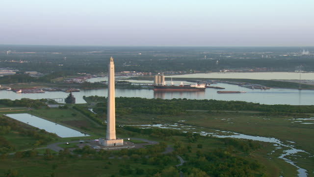 Channels of the Houston Ship Channel surround the San Jacinto Monument near Houston, Texas.