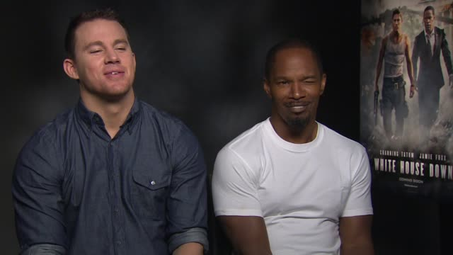 INTERVIEW Channing Tatum Jamie Foxx on joking about Channing taking his top off during filming at 'White House Down' Junket INTERVIEW Channing Tatum...