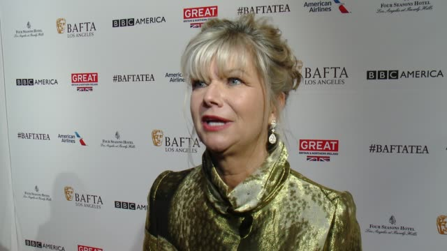 vídeos de stock, filmes e b-roll de interview chantal rickards on being at the event on the event being a staple during awards season and on the british talent community in hollywood at... - four seasons hotel