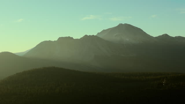 Chaos Crags and Mount Lassen, aerial landscape.