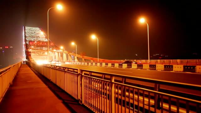 chaotianmen yangtze river bridge night / chongqing, china - arch bridge stock videos & royalty-free footage