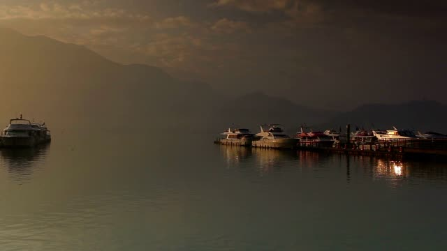 chaowu wharf, sun moon lake, taiwan - wen wu temple stock videos and b-roll footage