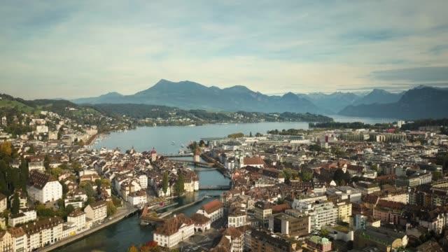 chapel bridge in lucerne city, switzerland - switzerland stock videos & royalty-free footage