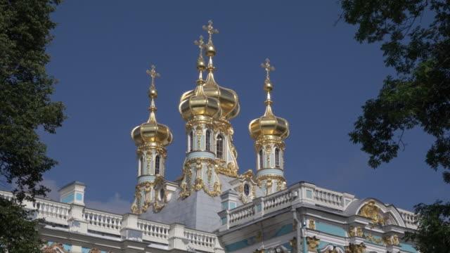 chapel of catherine palace, saint petersburg - st. petersburg russia stock videos & royalty-free footage