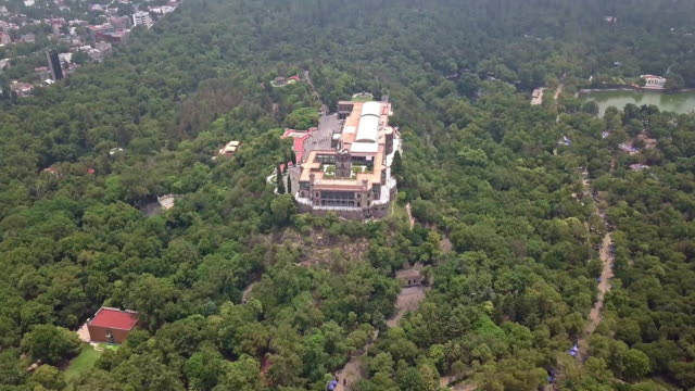 chapultepec castle aerial view from above - niños stock videos & royalty-free footage