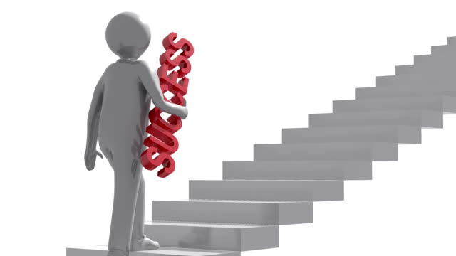 3d character is climb up stairs. - ladder of success stock videos & royalty-free footage