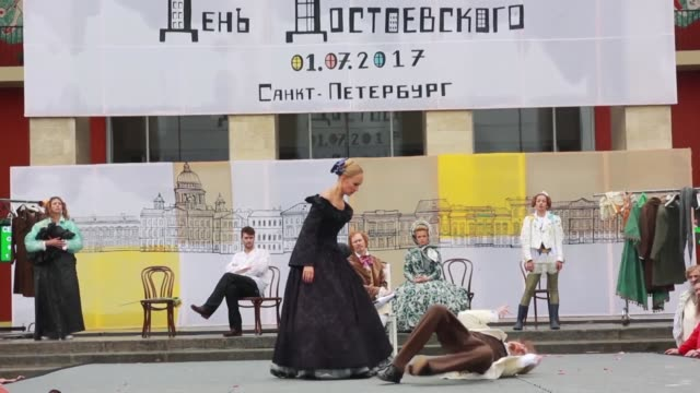 characters from the works of russian author fyodor dostoyevsky come to life in saint petersburg for the dostoevsky day festival held in the city... - fyodor dostoevsky stock videos & royalty-free footage