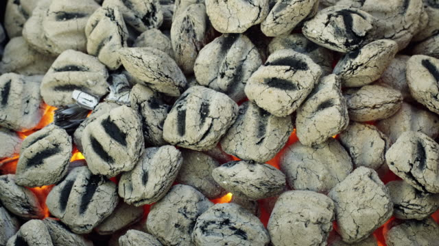 stockvideo's en b-roll-footage met cu charcoal briquette fire / orem, utah, usa - orem utah