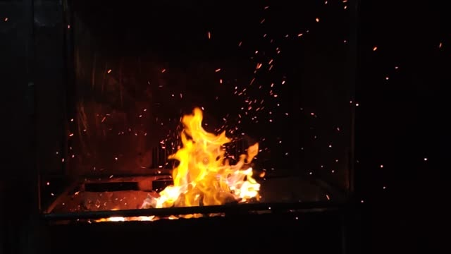 charcoal burn with flame and sparks.barbecue charcoal bonfire.cooking with charcoal. - coal stock videos & royalty-free footage