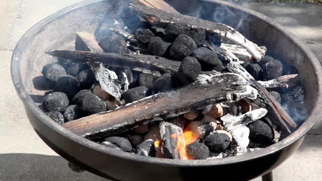 holzkohle brennen im grill - einige gegenstände mittelgroße ansammlung stock-videos und b-roll-filmmaterial