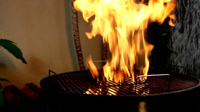 carbone su un barbecue grill - grigliare video stock e b–roll