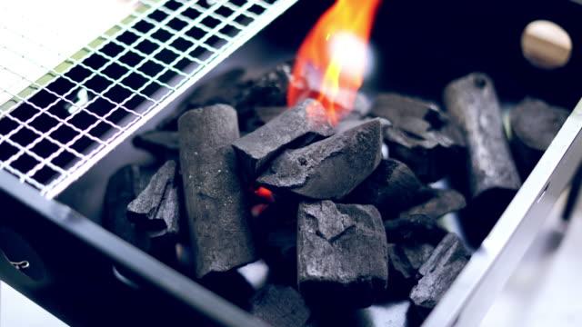 ストーブ燃焼火の中の木炭 - 可燃性点の映像素材/bロール