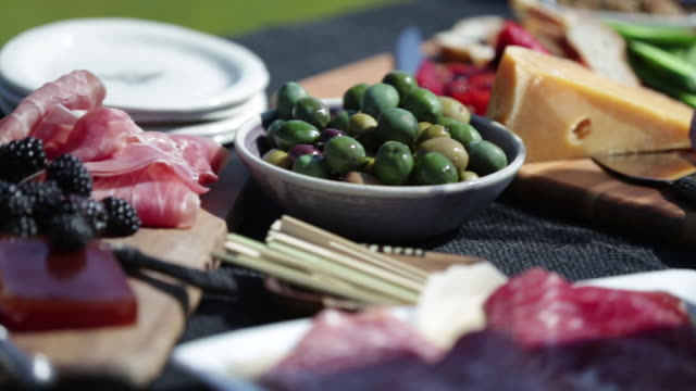 charcuterie outdoor picnic - tapas stock videos & royalty-free footage