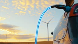 SLO MO Charging an electric car with blue energy from wind turbines