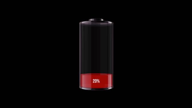 vidéos et rushes de indicateur de batterie de chargement de ms avec signe de pourcentage. animation 3d - batterie