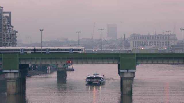 charing cross rail bridge in london - tramway stock-videos und b-roll-filmmaterial
