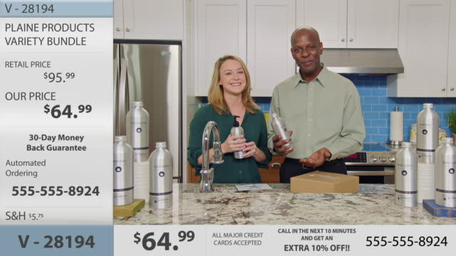 charismatic man and woman promote eco-friendly body and hair care products and discuss sustainability steps in modern infomercial. - home shopping stock videos & royalty-free footage