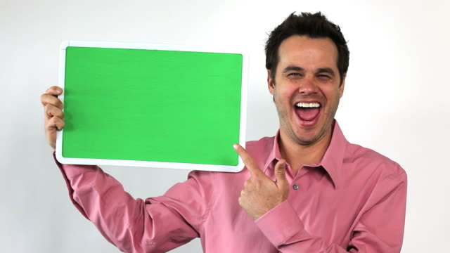 Charismatic Sales Guy With Green Screen Board, Jazzed