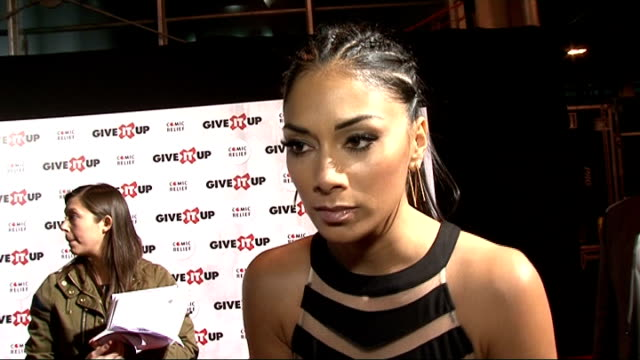give it up for comedy relief show at wembley arena nicole scherzinger speaking to mesia and interview sot - nicole scherzinger stock videos and b-roll footage