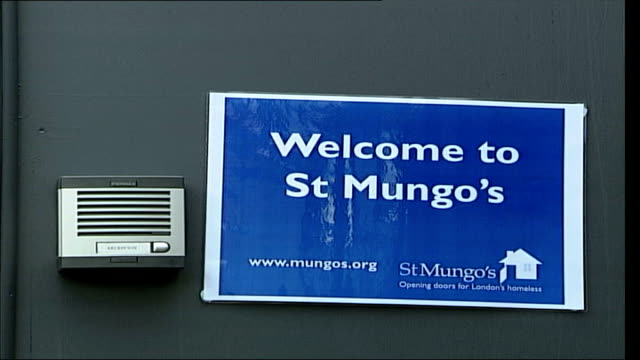 homeless shelter opened to combat cold weather england london old kent road int beds in homeless shelter run by charity st mungo's sign outside... - homeless shelter stock videos and b-roll footage