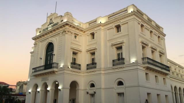 charity theatre or 'teatro la caridad', tilt down, santa clara, cuba - landmark theatres stock videos & royalty-free footage