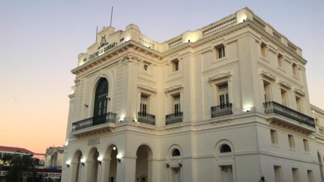 charity theatre or 'teatro la caridad', tilt up, santa clara, cuba - landmark theatres stock videos & royalty-free footage