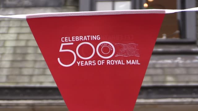 charles and camilla at royal mail event england london st martin's le grand ext royal mail bunting outside former general post office headquarters... - toccare con un dito video stock e b–roll