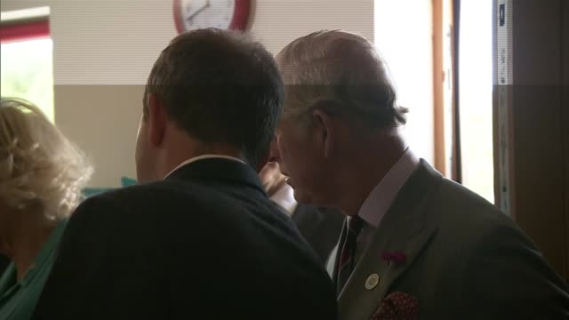 charles and camilla visit aberdaron in wales ext camilla by bridge / charles chatting to locals charles and camilla in bakery looking at produce and... - charles bridge stock-videos und b-roll-filmmaterial