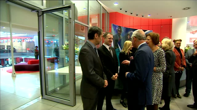 stockvideo's en b-roll-footage met charles and camilla visit new broadcasting house england london new broadcasting house int prince charles prince of wales and camilla duchess of... - jo whiley