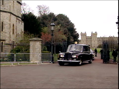 charles and camilla's wedding england windsor ext car towards carrying prince charles and camilla parker bowles from windsor castle to guildhall... - camilla duchess of cornwall stock videos and b-roll footage