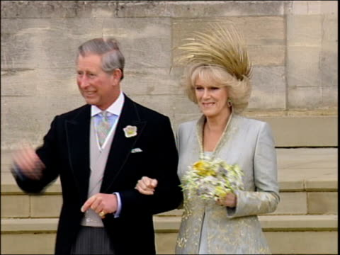charles and camilla's wedding; england: windsor: st george's chapel: ext lms prince charles, prince of wales towards from chapel doorway with new... - married stock videos & royalty-free footage
