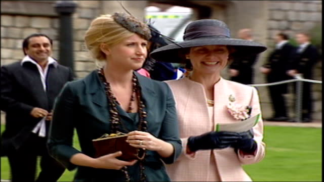 charles and camilla's wedding; pool england: berkshire: windsor: windsor castle: st george's chapel: ext wedding guests queuing outside chapel / gvs... - shirt and tie stock videos & royalty-free footage