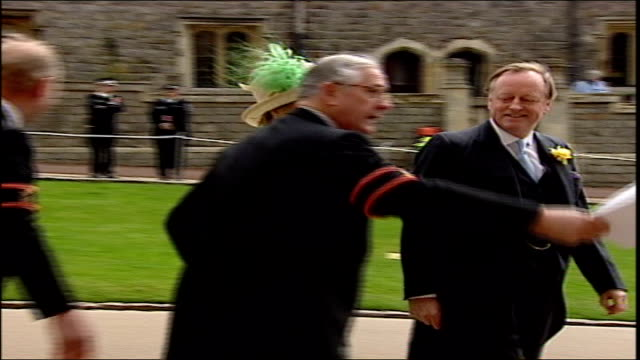 charles and camilla's wedding pool berkshire windsor windsor castle st george's chapel ext gvs jilly cooper arriving / ms andrew parker bowles along... - pink singer stock videos and b-roll footage