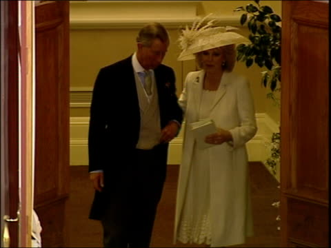 charles and camilla's wedding tgv prince charles and new wife camilla duchess of cornwall towards from building to cheers from crowd prince charles... - camilla duchess of cornwall stock videos and b-roll footage