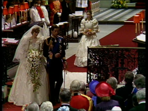 diary of the day part three england london st paul's cathedral ts couple rl ls/ms couple towards pull back diana curtsies to queen ts ditto rl cms... - wedding stock videos & royalty-free footage
