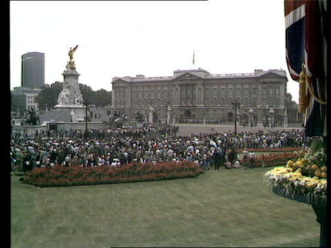 charles and diana wedding: live special: part five: buckingham palace balcony and crowds:; england: london: itn studio: int andrew gardner to camera... - outdoor chair stock videos & royalty-free footage