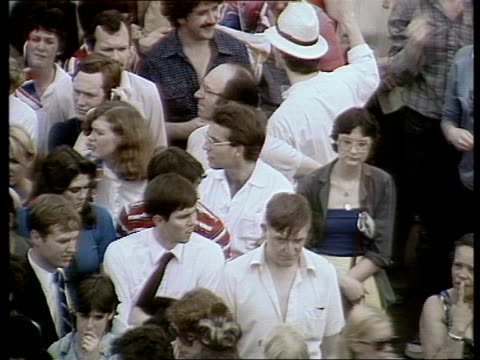 charles and diana wedding: live special: part five: buckingham palace balcony and crowds:; england: london: crowds gathering in front of the... - wedding stock videos & royalty-free footage