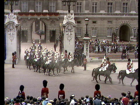 charles and diana wedding: live special: part five: buckingham palace balcony and crowds:; - wedding stock videos & royalty-free footage