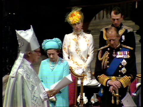 charles and diana wedding: live special: part four: ceremony:; england: london: st paul's cathedral: robert runcie conducting wedding service of... - robert runcie stock videos & royalty-free footage