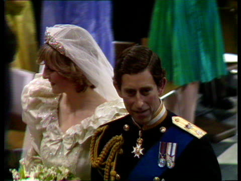 charles and diana wedding: live special: part four: ceremony:; england: london: st paul's cathedral: gvs prince charles, prince of wales and diana,... - wedding stock videos & royalty-free footage