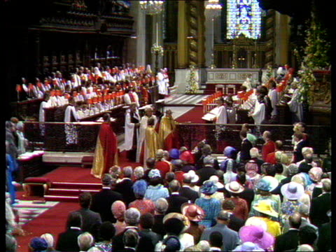 charles and diana wedding: live special: part four: ceremony:; england: london: st paul's cathedral: gvs royal family along towards altar gvs royal... - prince of wales stock videos & royalty-free footage