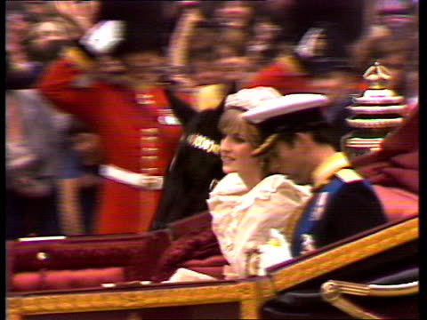 live special part four ceremony england london st paul's cathedral gvs charles and diana along in carriage gvs royal family on steps queen elizabeth... - frances shand kydd stock videos & royalty-free footage
